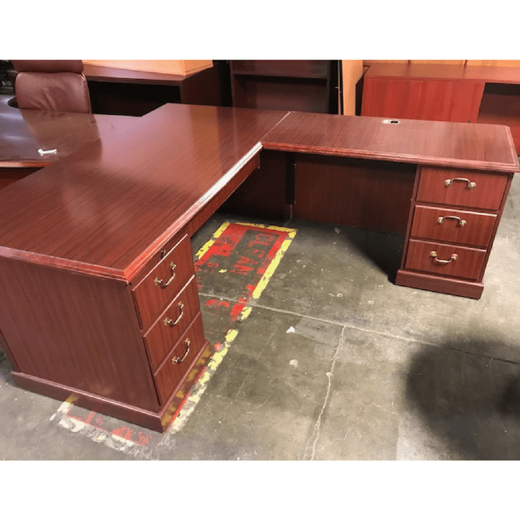 First Office L-Desk with (2) B/F and Center Drawer