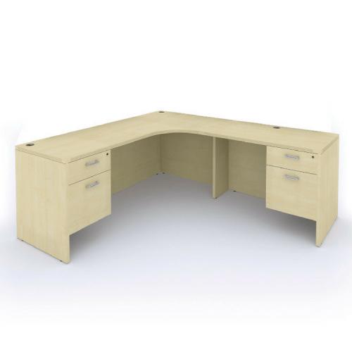 Cherryman Amber L-Desk with Suspended Pedestals